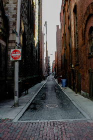 alley,  city,  street,  downtown,  brick,  cobblestone,  buildings,  deserted,  exterior,  urban,  sign,  narrow, architecture