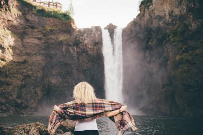 girl, woman, blonde, people, scarf, fashion, waterfall, river, stream, nature, outdoors, rocks, cliffs