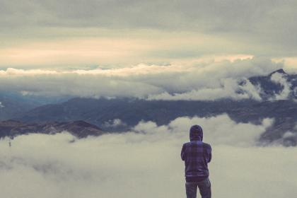 nature, mountains, sky, clouds, people, guy, man, traveler, hike