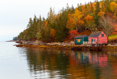 fishing,   village,   water,   cottage,   ocean,   sea,   reflection,   barn,   weathered,   old,   bay,   harbor,   coast,   coastal,   nature,  shack,  autumn,  forest,  trees