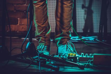 shoe, footwear, concert, effects, sound, electronic, cord, music, stage