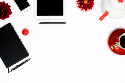 iphone,  ipad,  flat lay,  notebook,  workplace,  working,  minimalistic,  dahlia,  red dahlia,  back and white,  white,  black,  black notebook,  coffee,  cup of coffee,  pot,  red cup,  striped,  stripes,  red stripes,  white background,  pencil,  pens,  lip balm,  red and white,  white and red,