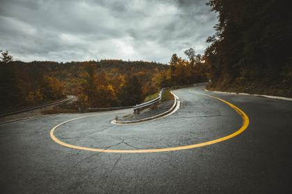 road, curve, travel, trees, plant, nature, highland, autumn, fall, blue, sky, clouds