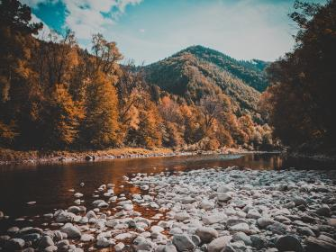 mountain, valley, highland, trees, landscape, nature, grass, rocks, river, water, view, sky, clouds, autumn, fall