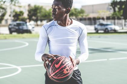 people, ball, nike, guy, man, player, field, black, african american, car, vehicle, blur, trees, bokeh, grass, court, basketball, model, fashion