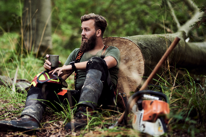 man, beard, outdoors, lumberjack, woodsman, chainsaw, nature, coffee, cup, person, labor, tree
