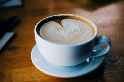 coffee, cappuccino, heart, froth, cup