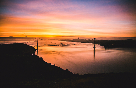 San Francisco,  Bridge,  SF,  ocean,  sunrise,  dawn,  landscape,  scenic,  colourful,  water,  sun,  beach,  sky,  silhouette,  light,  nature,  reflection,  outdoors,  travel,  colours