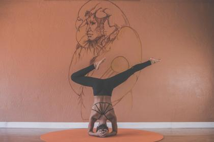 yoga, pose, stretch, health, fitness, working out, exercise, girl, woman, people, mat, mural, wall, art, athlete