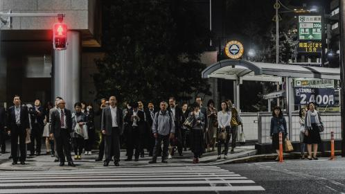 people, men, women, walking, pedestrian, crossing, japanese, asian, road, street, city, traffic, light