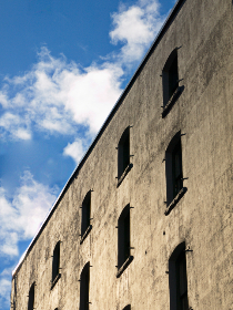 building,  sky,  facade,  wall,  windows,  structure,  clouds,  concrete,  simple,  design,  architecture,  perspective
