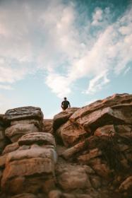 rock, formation, people, man, alone, sky, clouds, nature, hill, adventure, outdoor