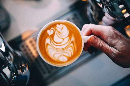 barista,  latte,  art,  coffee,  hot coffee,  fresh coffee,  espresso,  cappuccino,  beverage,  cafe,  restaurant,  milk,  cup,  hand,  close up,  breakfast drink,  hot,  moccha