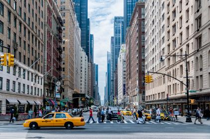 urban, city, buildings, architecture, sky, taxi, cabs, people, crowd, public, walking, roads
