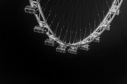 ferris wheel, amusement park, architecture, infrastructure, structure, night, dark, lights, black and white, monochrome