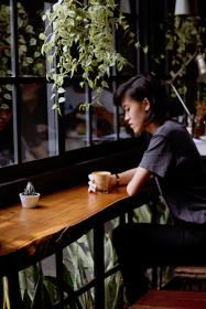 cafe, coffee, plants, people, girl, lady, woman, leaves