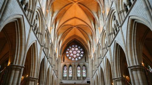 architecture, building, chapel, cathedral, church, interior, arches, patterns, perspective, ceiling, windows, stained, glass, truro, cornwall, england, united kingdom
