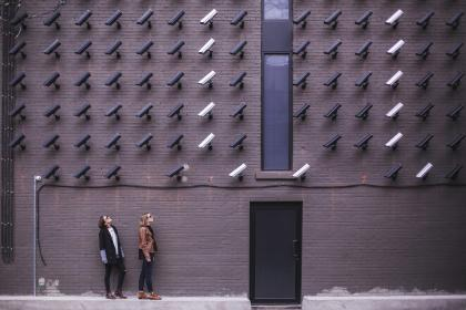 surveillance, bricks, cameras, girls, women, people, city, security, building, technology