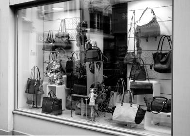 bags, gift, store, display, design, black and white, glass, light, wall, building, establishment