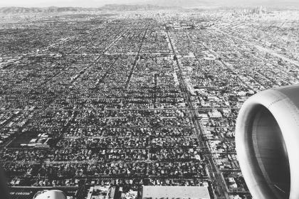 LA, Los Angeles, aerial, view, airplane, landing, travel, transportation, city, black and white