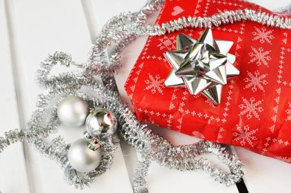 gifts, presents, christmas, bow, ribbon, silver, red