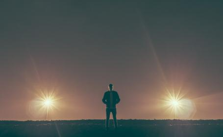 guy, man, male, people, stand, solar, flare, light, shadows, silhouette
