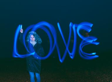 love, long exposure, bulb, art, people, woman, dark, night, cold, weather, scarf, coat, photography
