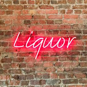 bricks, wall, tiles, texture, design, brickwork, liquor, lights, sign