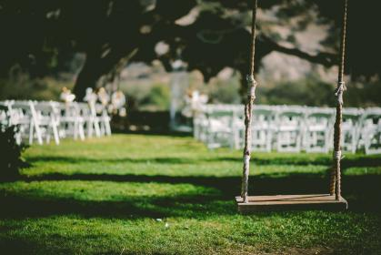 wedding reception, swing, grass, chairs, park