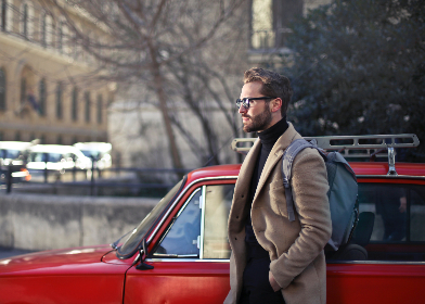 man,  bear,  street,  red,  car,  handsome,  fashion,  glasses,  waling,  city,  people,  male,  transport,  backpack