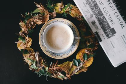 coffee, cafe, art, latte, morning, hot, drink, magazine, table, leaves, cup, saucer