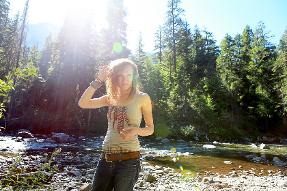woman,  adventure,  trail,  nature,  sun,  trees,  forest,  river,  brook,  creek,  water,  jeans,  female,  people