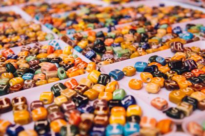 arts, crafts, beads, orange, blue, letters, assorted, squares