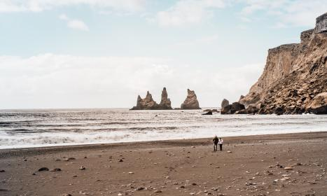 people, man, woman, vacation, beach, shore, coast, sea, water, ocean, waves, hill, mountain, sky, nature, rock, formation