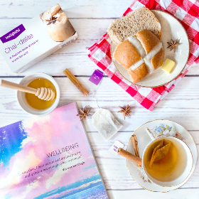 chai,  tea,  mindfulness,  meditation,  hot cross bun, picnic, honey, book, white, wood, relax