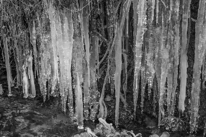 frozen, waterfall, ice, hiking, winter, cold, icicles, black and white
