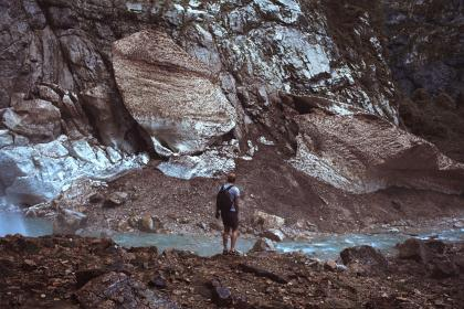 rock, mountain, valley, highland, people, man, travel, hike, alone, adventure, river, water