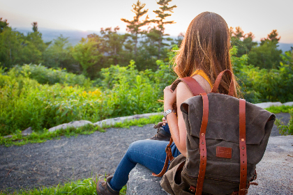 backpacking,   trip,   nature,   sun,   travel,   bag,   hiking,   hipster,   outdoor,   activity,  girl,  female,  trees,  horizon, person, woman
