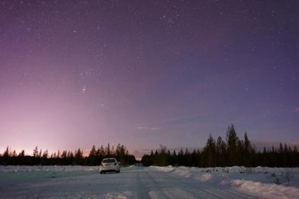 sky, cloud, trees, plant, nature, outdoor, winter, snow, forest, car, vehicle, road, trip, travel