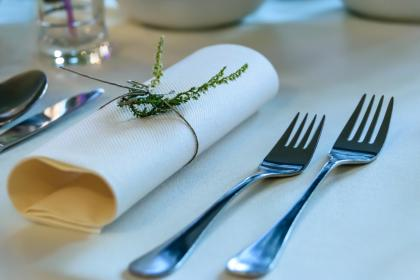 fork, spoon, knife, cutlery, napkin, table, setup