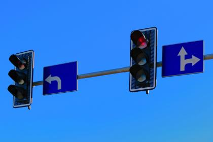 blue, sky, traffic, light, arrow, direction