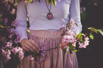 flower, bloom, petal, nature, plant, branch, people, woman, girl, outdoor, necklace, clothing