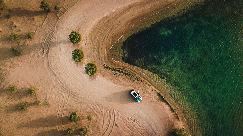 drone,  aerial,  car,  mini,  travel,  adventure,  desert,  sand,  tracks,  lake,  river,  sea,  water,  green,  transport