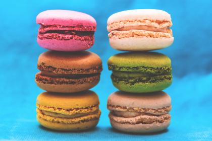 food, gourmet, macarons, colors, bite, size, pastry, french, styling, still