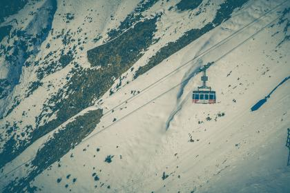 cable, car, ride, adventure, snow, winter, highland, mountain