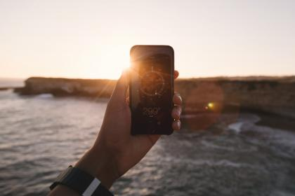 iphone, compass, navigation, sunset, mobile, technology, hands
