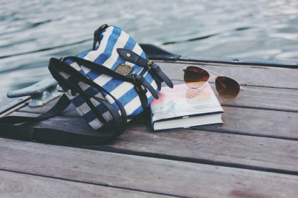pier, dock, lake, water, sunglasses, book, objects, purse, bag, purse, outdoors