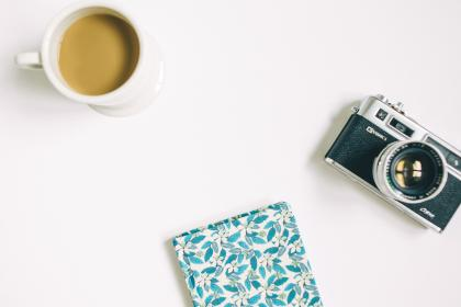 flat lay, white, table, diary, notebook, camera, analog, vintage, film, manual, lens, cup, coffee, mug, shutter, iso, aperture