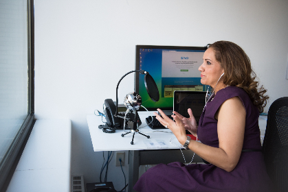 woman,  podcast,  microphone,  talking,  computer,  technology,  keyboard,  mouse,  desk,  office,  business,  female,  people