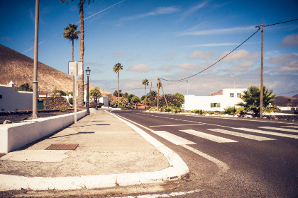 summer,  road,  alone,  empty,  quiet,  street,  town,  village,  blue sky,  zebra crossing,  concrete,  travel